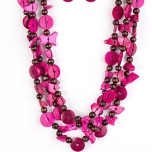 Living The Tropical Life Pink Beaded Necklace Set